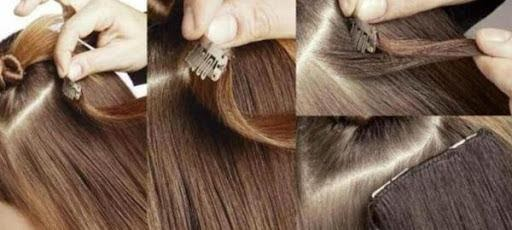 Apply clip in weft hair extensions