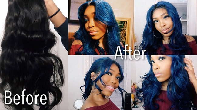 05 Blue Lace Front Wig Human Hair